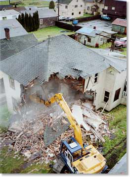 aerial view of a Slashbuster® demolishing a residential building