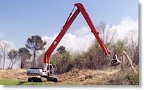 HD 422 brush cutter mounted on long stick excavator