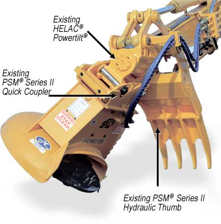"""SLASHBUSTER""® Model XL 480 brushcutterwith integrated Helac® Powertilt®, PSM® quick coupler & PSM® hydraulic thumb."