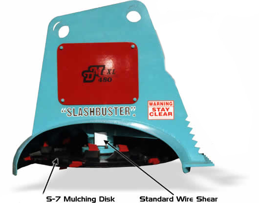 XL480 mulching disk and wire shear