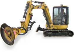 xl330 brush cutter attachment mounted on a cat mini excavator